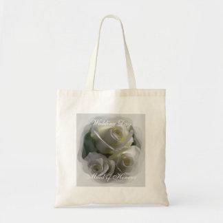 Sacola macia do dia do casamento dos rosas brancos sacola tote budget