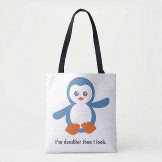 Sacola mortal do pinguim bolsas tote