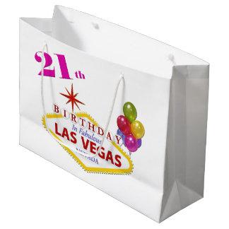 Sacola Para Presentes Grande 21th Aniversário no saco do presente de Las Vegas