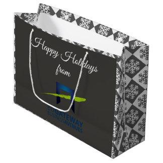 Sacola Para Presentes Grande Adicione seu feriado cinzento (retangular) do