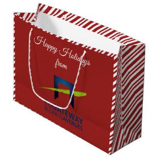 Sacola Para Presentes Grande Adicione seu feriado vermelho do logotipo do