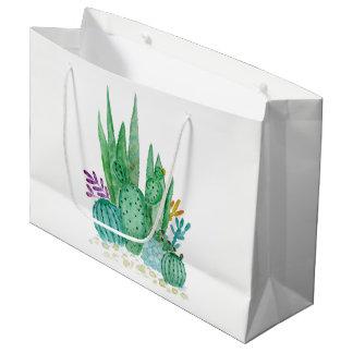 Sacola Para Presentes Grande Aguarela, cacto, succulents