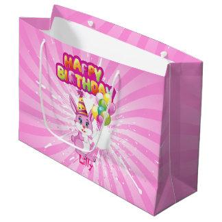 Sacola Para Presentes Grande Desenhos animados cor-de-rosa do aniversário do