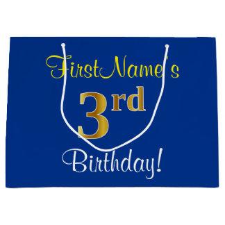 Sacola Para Presentes Grande Elegante, azul, aniversário de 3 anos do ouro do