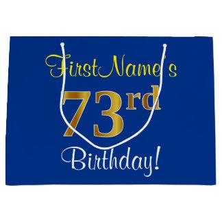 Sacola Para Presentes Grande Elegante, azul, aniversário do ouro do falso 73rd