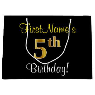 Sacola Para Presentes Grande Elegante, preto, aniversário do ouro do falso 5o +
