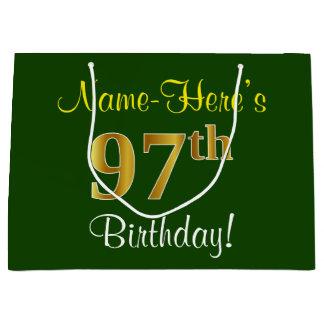 Sacola Para Presentes Grande Elegante, verde, aniversário do ouro do falso 97th