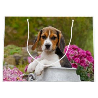 Sacola Para Presentes Grande Filhote de cachorro bonito em uma batedeira de