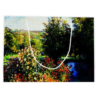 Sacola Para Presentes Grande Monet-Rosas de Claude no jardim em Montgeron