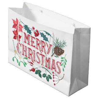 Sacola Para Presentes Grande Natal botânico tradicional