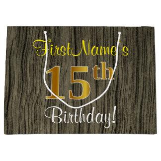 Sacola Para Presentes Grande Olhar de madeira do falso, aniversário do ouro do