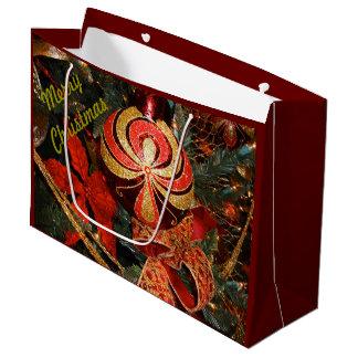 Sacola Para Presentes Grande Poinsétia vermelha elegante dos enfeites de natal