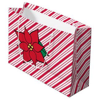 Sacola Para Presentes Grande Saco vermelho do presente da poinsétia do Natal