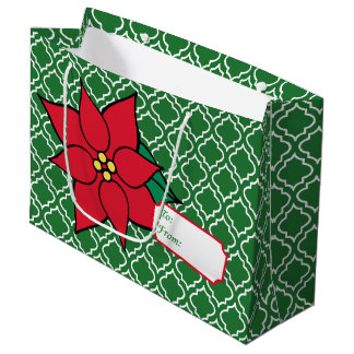 Sacola Para Presentes Grande Saco vermelho do Tag do presente da poinsétia do