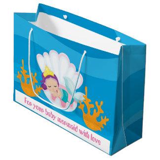 Sacola Para Presentes Grande Seu saco do partido do shoer do bebê da sereia do