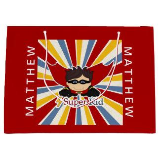 Sacola Para Presentes Grande Tema da banda desenhada no vermelho para um menino