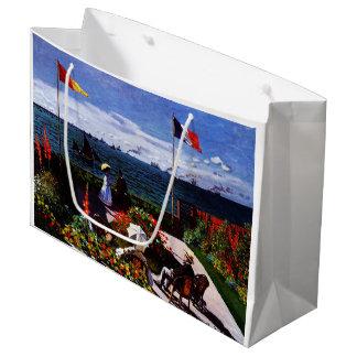 Sacola Para Presentes Grande Terraço de Claude Monet-The em Sainte-Adresse
