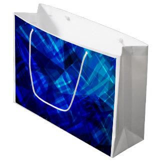 Sacola Para Presentes Grande Teste padrão geométrico do gelo azul legal