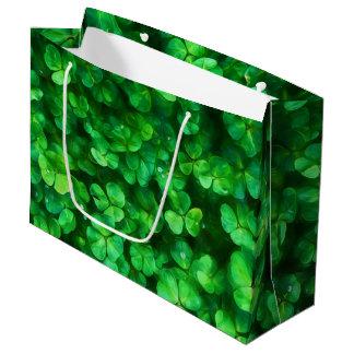 Sacola Para Presentes Grande Trevos verdes irlandeses celtas afortunados