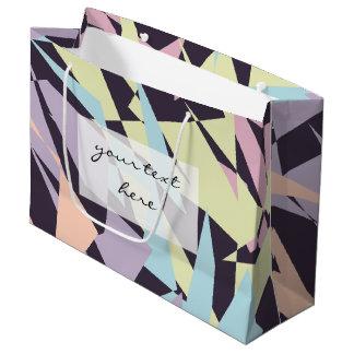 Sacola Para Presentes Grande triângulos geométricos do bloco elegante da cor