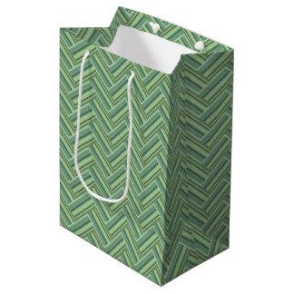 Sacola Para Presentes Média A verde azeitona listra o weave dobro