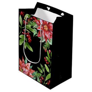 Sacola Para Presentes Média Feriado elegante da aguarela floral