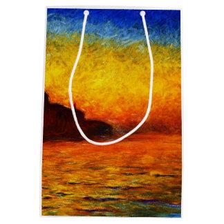 Sacola Para Presentes Média Monet-Por do sol de Claude em Veneza