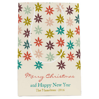Sacola Para Presentes Média Natal colorido moderno da poinsétia