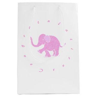 Sacola Para Presentes Média Parabéns - elefante cor-de-rosa lindo do bebê