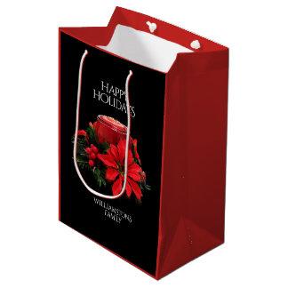 Sacola Para Presentes Média Velas, azevinho, & poinsétia vermelhos festivos do