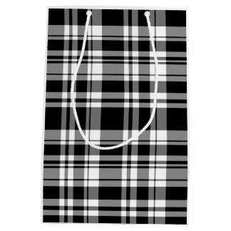 Sacola Para Presentes Média Xadrez preto e branco