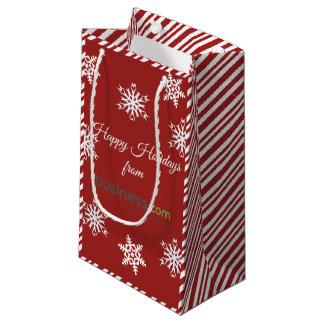 Sacola Para Presentes Pequena Adicione seu feriado vermelho (longo) do logotipo