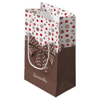 Sacola Para Presentes Pequena Bolinhas do vermelho e do Cappuccino e fita do