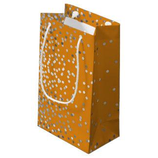 Sacola Para Presentes Pequena Casamento vintage alaranjado elegante dos confetes