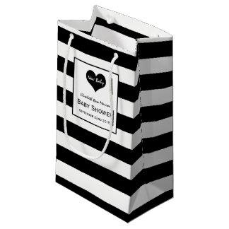 Sacola Para Presentes Pequena Chá de fraldas preto & branco chique moderno