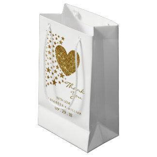 Sacola Para Presentes Pequena Coração e estrelas do brilho do ouro que Wedding