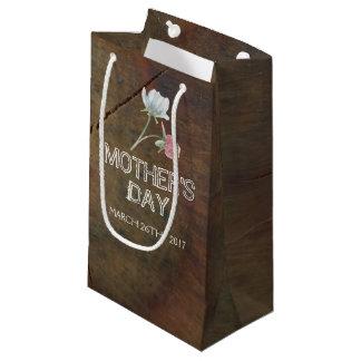 Sacola Para Presentes Pequena Dia das mães da madeira de carvalho do Wildflower