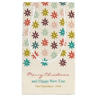 Sacola Para Presentes Pequena Feriado moderno da poinsétia do Feliz Natal