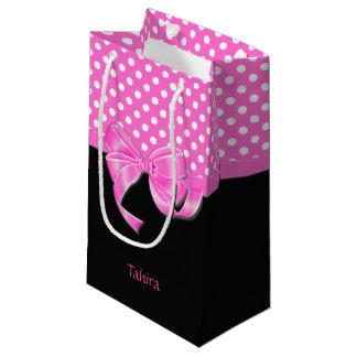 Sacola Para Presentes Pequena Fita e bolinhas cor-de-rosa
