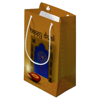 Sacola Para Presentes Pequena Fogos-de-artifício felizes festivos de Diwali -