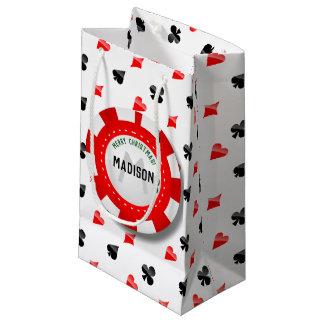 Sacola Para Presentes Pequena Microplaqueta de póquer Monogrammed do Natal do