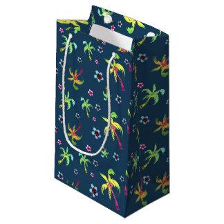 Sacola Para Presentes Pequena Palmeiras e frangipanis tropicais do divertimento