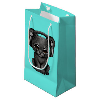 Sacola Para Presentes Pequena Pantera preta bonito Cub que veste fones de ouvido