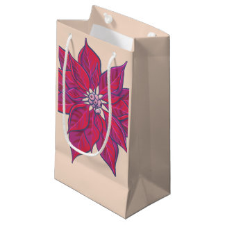 Sacola Para Presentes Pequena Saco alegre e brilhante do presente da poinsétia