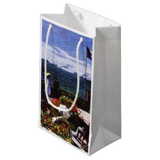 Sacola Para Presentes Pequena Terraço de Claude Monet-The em Sainte-Adresse