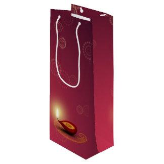 Sacola Para Vinho Diwali feliz brilhante Diya - saco do presente do