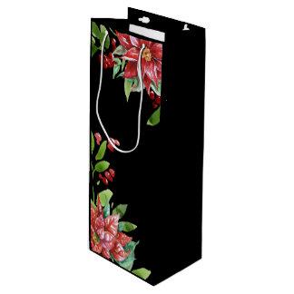 Sacola Para Vinho Feriado vermelho e verde elegante floral