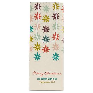 Sacola Para Vinho Poinsétia colorida festiva do Feliz Natal