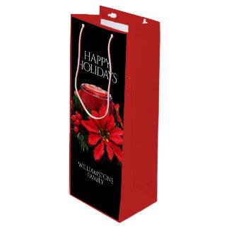 Sacola Para Vinho Velas, azevinho, & poinsétia vermelhos festivos do