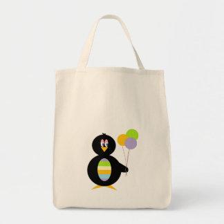 Sacola pequena feliz do pinguim sacola tote de mercado